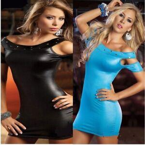 Faux Leather Wet Look Mini Dress Bodycon Clubwear