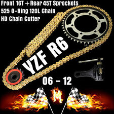For Yamaha YZF R6 2009 2010 2011 525 O ring Chain FRONT REAR Sprockets Cutter