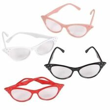 50's Cat Eye Glasses Vintage Style Pink Black Red White 4 Piece Set New