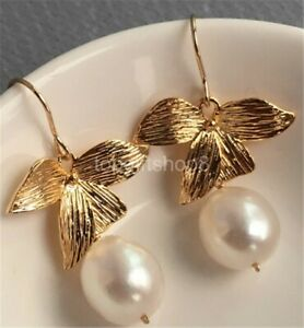 white 12-13mm cultured freshwater pearl earrings 14k filled gold