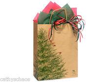 50 Winter Evergreen Christmas Trees Red Bird Kraft Paper Cub Gift Shopping Bags