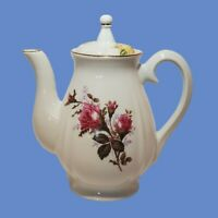 VINTAGE PINK YELLOW MOSS ROSE JAPAN TEAPOT COFFEE POT WORKS EXCELLENT CONDITION