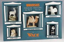 WADE ZOO WHIMSIES  SET 8, 1957 WITH ORGINAL BOX, PANDA, LION, LLAMA. ETC.