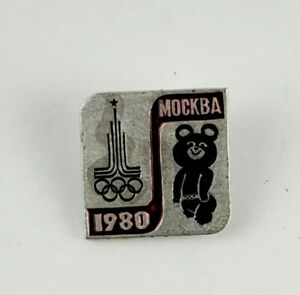 Vintage MISHA BEAR Mockba 1980 Olympics Pin Pinback