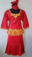 Women Clothing African Dashiki Skirt Suit Attire Red Free Size Print #9318