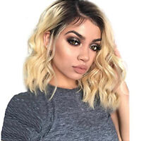 Short Wavy Bob Synthetic Lace Front Wigs Dark Root Blonde Color Lace Hair Wigs