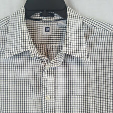 Gap Men's XL Classic Shirt Tattersall Check Button Down Long Sleeve Black White