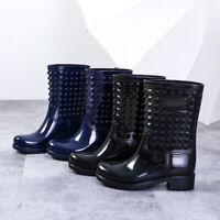 Womens Wellies Wellington Ladies Studded Design Boots Festival Rain Shoes Size