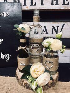 21 Piece Rustic Style Wedding Centre Pieces bottle, jars Table decoration boho