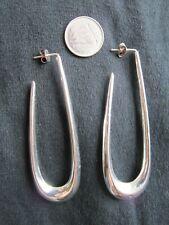 "Silver 925 ~ Vintage ~ Lg 3"" x 1"" ~ Hanging Hollow ""U"" Shaped Earrings ~ 11.26 g"