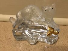 Igor Carl Faberge Crystal Figurine Cat Leopard Panther 1990 Franklin Mint