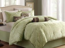 Palm Leaf Tropical Beach House Queen Comforter Set (7 Piece Bed In A Bag)