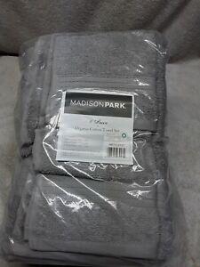 NWT Madison Park 100% Organic Cotton 6 Piece Towel Set Grey Multiple Sizes