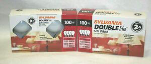 8 Sylvania 2 X DOUBLE LIFE  Soft White 100 Watt Incandescent Light Bulbs Dims