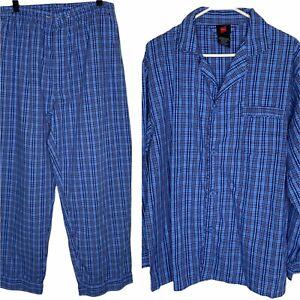 Hanes 2 pc Pajama Set Mens L Blue Plaid Long Sleeve
