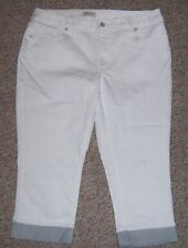 COLDWATER CREEK White Denim Natural Fit Cropped Capris Jeans Size 16 NWOT