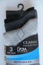 Design Dress Socks  Mens Size 7-11 Cotton Blend Grey tonings 3 pack