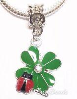 *FOUR LEAF CLOVER LADYBUG*_Bead 4 European Charm Bracelet_Irish Luck Celtic_K21