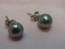 1063-750er Weißgold Ohrstecker mit Perlen durchmesser 8 mm Gewicht 2,1 gramm