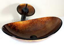 Bathroom  Artistic Oval B9052M4 Glass Vessel Sink  Matching waterfall combo