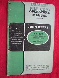 VINTAGE ORIGINAL JOHN DEERE 490 FOUR-ROW TRACTOR CORN PLANTER OPERATORS MANUAL