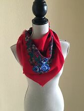 "Vintage Glentex 100% Acrylic Red with Blue and Purple Flowers 30"" Scarf"