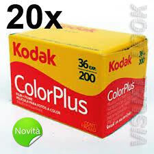 20 pezzi pellicola rullino Kodak Color Plus 36 foto 200 ISO 35 mm SCADENZA 2020
