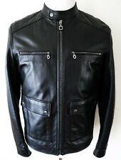 $3600 SALVATORE FERRAGAMO Black Lambskin Leather Bomber Jacket 50 Euro Medium