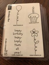 Stampin Up Stamps 2004 Birthday Best Set Of 4 Wood Unmounted