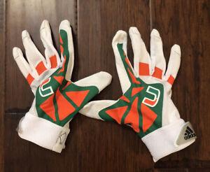 adidas Men's ADIZERO EQT 3 Miami Hurricanes Football Gloves Sz. L NEW THE U.