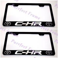 2X Toyota C-HR C HR Black Stainless Steel License Plate Frame Rust Free W/ CAP