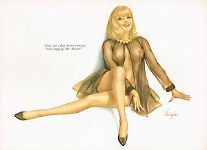 Vintage Alberto Vargas Girl Blonde Female Nude Lingerie Pin Up Art Print