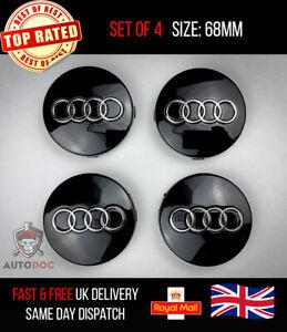 Set Of 4 BLACK Audi Alloy Wheel Hub Centre Caps 68mm A3 A4 TT A5 A6 A7 A8 Q5