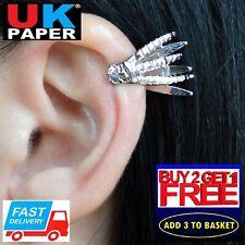 NEW SILVER DRAGON CLAW HAND EAR CLIP EARRING PEWTER CUFF EMO GOTHIC PUNK ROCK UK