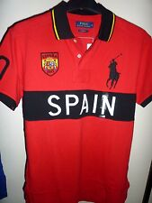 Ralph Lauren Men's Red SPAIN Polo Shirt Large Polo Pony Size L New with Tags