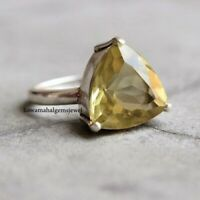 925 Sterling Silver Jewelry Natural Faceted Trillion Citrine Ring. All US SIZE