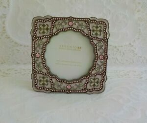 Argento SC Picture Frame Swarovski Crystal Pink Total 1 Square Round Scalloped