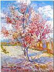 "Vincent Van Gogh *FRAMED* CANVAS ART peach tree in bloom Mauve 24x16"""