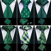 USA Men Ties Necktie Set Green Solid Pliad Striped Animal Tie St. Patrick's Day