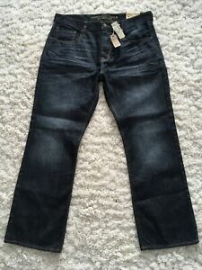 Mens NEW AE American Eagle Classic Boot Cut Dark Wash Denim Jeans Sz 36x32