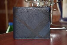 NEW Burberry Navy/Black London Check International Bifold men wallet, NO tags