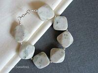 Pastel Green & Cream Peace Jade Ladies Bracelet With Sterling Silver Beads