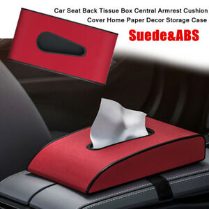 1X ABS&Suede Car Seat Back Tissue Box Central Armrest Cushion Cover Storage Box