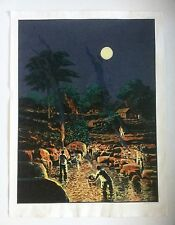 Wichie Torres, Night Landscape Serigraph '96, Caribbean, Ponce, Puerto Rico Art