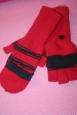 r- CLOTHES WOMENS SZ M MITTENS GLOVES RED KNIT OPEN FINGERS SO WARM GENTLY USED