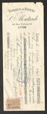 """LYON (69) USINE de SACS , PAPIERS PLIABLES """"L. MOUTARDE"""" 1896"""