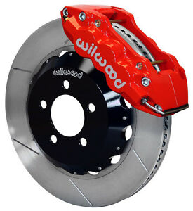 """WILWOOD DISC BRAKE KIT,FRONT,05-11 CHARGER,CHRYSLER 300,14"""" ROTORS,RED CALIPERS"""