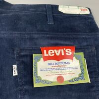Vintage Levis 646 Flare Bell Bottom Corduroy Jeans 40x31 Cords Blue 70s Hippie