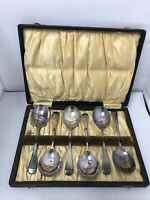 Vintage Silver Plate Spoon Set EPNS Cutlery Spoons Quantity 6 In Box Case