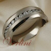 Titanium Ring White Diamonds Simulated Wedding Band Bridal Jewelry Hot Size 6-13